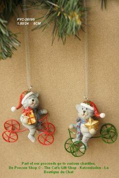2 Рождественские Кошки на четыре Уилер.  С весной и зажимом Маат 6 х 7 см