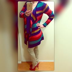 Knit multicolor open front long cardigan sweater Knit bright multicolor striped open front long cardigan. Super cute, comfortable and stylish! It is in excellent condition. Add some color to your winter wardrobe and make this adorable sweater yours today! (The belt shown in some of the pics is not included; just wanted to share styling tips) Sweaters Cardigans