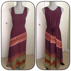 Beautiful Maxi Dress. Beautiful Maxi dress!  Beautiful variegated colors. Two slits on the bottom on each side.   The material is 100% rayon. Super comfy. There isn't a tag with the size, however, it fits like a S/M. Reposhing. My loss your gain of this beautiful maxi!   Dresses Maxi