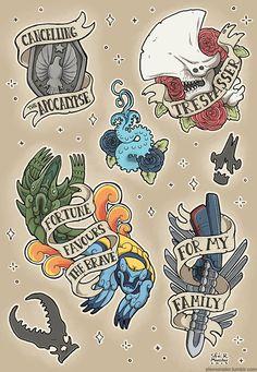 Pacific Rim flash tattoo sheet