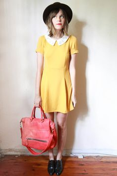 tea and tulips boutique - one of a kind vintage. — mustard yellow dress