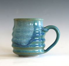 """stoneware coffee mug, high fired glazes in blues and greens. 3.75"""" tall, 2.75"""" opening, holds 10 oz. // Pottery Coffee Mug unique coffee mug handmade ceramic by ocpottery"""