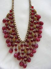 Vintage Signed MIRIAM HASKELL BIB Necklace Cranberry Glass Beads Brass