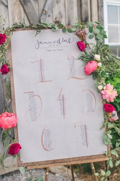 Peony garland around the seating chart sign: http://www.stylemepretty.com/kentucky-weddings/2014/09/19/kentucky-barn-wedding-filled-with-peonies/ | Photography: Amy Campbell - http://amycampbellphotography.com/