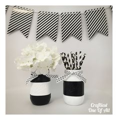 Black and white stripe mason jars with polka by CraftiestOneOfAll