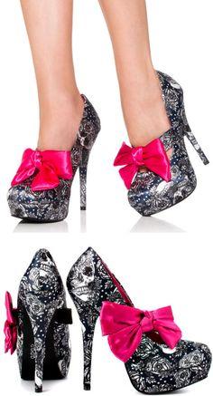 Night A Light Platform Heels ♥ #skull #roses #bows