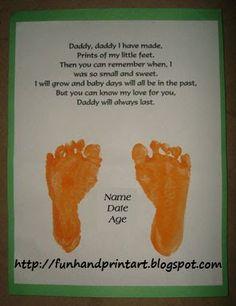 Handprint and Footprint Arts & Crafts: Footprint Keepsake Gift For Dad