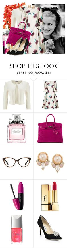 """""""Bright Lights Big City"""" by the-city-wild ❤ liked on Polyvore featuring Phase Eight, Oscar de la Renta, Christian Dior, Hermès, Carolee, Revlon, Yves Saint Laurent and Jimmy Choo"""