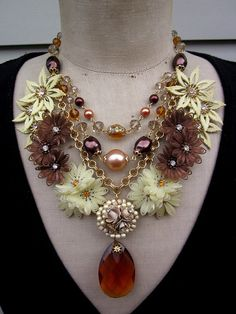 RESERVED FOR ANNE Vintage Flower Necklace Statement by rebecca3030