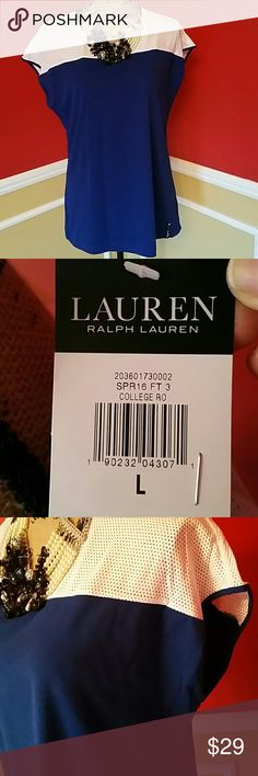 NWT ralph lauren top Brand new purchased from macys with macy retail tag and sticker. Size large. 94%cottom 6%elastane . Very light and comfrotable with a nice pair of boyfriend jeans. Tops Tees - Short Sleeve
