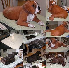 Find Out More On The Protective Boxer Dogs Health Boxer Dogs Facts, Art Deco Cake, Cake Structure, Dog Home Decor, Family Cake, Fondant, Sculpted Cakes, Animal Cakes, Dog Cakes