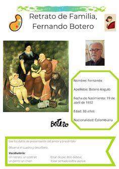 Spanish Worksheets, Art, English Classroom, English Lessons, Spanish, Portraits, Paintings, Spanish Vocabulary, Fernando Botero