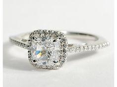 Cushion Cut Halo Engagement Ring. Love. Want.
