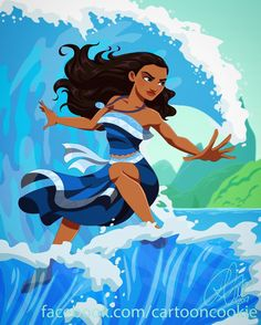 Cartoon Cookie - Waterbender Moana!! Because she is the perfect...<<< yes please :D