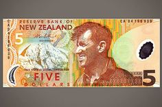 """New Zealand   """"Sir Edmund Hillary, on this New Zealand $5, ranks as Most Rugged Outdoorsman on world money, with his weather-crinkled eyes, windblown hair, and open-throated shirt casually askew. Even the color suggests the lifelong tan only acquired by someone who at 33 was the first to stand on top of Mount Everest in 1953, who led the first successful expedition to cross Antarctica via the South Pole in 1958, and who climbed to the source of the Ganges River in the Himalayas in 1977...."""""""