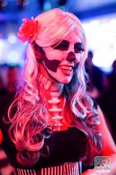 Skeleton makeup at the Salt Lake Comic Con Halloween Party