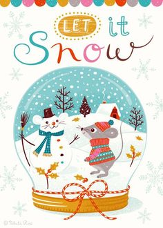 Mouse snowman in snowglobe Noel Christmas, Christmas Design, Christmas Colors, Winter Christmas, Christmas Crafts, Christmas Decorations, Christmas Clipart, Maus Illustration, Winter Illustration