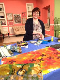 Lynn Krawczyk setting up for her segment on surface designed floor mats on Quilting Arts TV Series 1600. #QATV