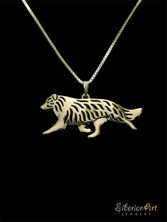 Border Collie - gold pendant and necklace.