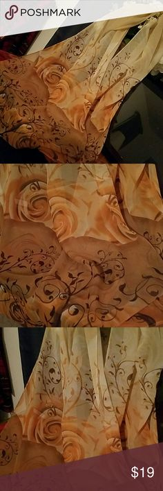 gorgeous scarf/wrap silk with a lovely pattern of roses in soft but alive burnished coloring. Nwot Accessories Scarves & Wraps