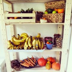 Our fruit shelf ~  Persimmons, bell peppers, walnuts, pumpkins, carrots, chestnuts, carob, hazelnuts, apples, kumquats, curcuma, eggplants, pomegranates, avocados and bananas. https://instagram.com/the2.0life/