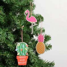 Tropical tree Christmas decorations - set of 3