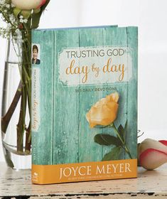 """Joyce Meyer Day by Day Devotions In this dynamic devotional, international speaker and New York Times best-selling author Joyce Meyer provides you with powerful """"starting points"""" for every day of the year. Each day's entry is filled with practical advice and help from Joyce, along with life-changing promises from God's Word that you can quickly and easily apply in your own life. Hardcover. 439 pages. 7-1/4"""" x 5-1/4"""". Daily devotions centered on His promises $8.95"""