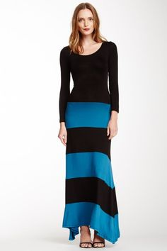 Striped Colorblock Maxi Dress by BindyB
