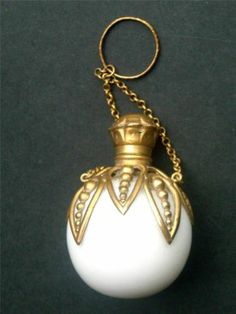 Antique Spherical Milk Glass Gilt Ormolu Chatelaine Perfume Scent Bottle ca. Antique Perfume Bottles, Vintage Bottles, Beautiful Perfume, Bottle Art, Milk Glass, Fancy, Glass Bottles, At Least, Fragrance