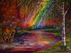 'End of Rainbows' - scenery, flowers, love four seasons, beautiful, landscapes, streams, deers, forests, paintings, draw and paint, best of the best, creative pre-made, attractions in dreams, trees, colorful, colors, traditional art, rainbows, heaven, nature, most downloaded, family