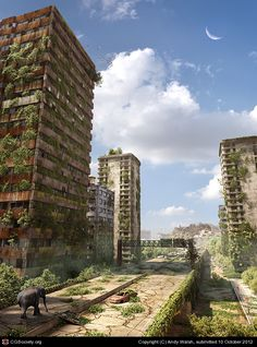 Title: Post Apocalyptic Ruined City Name: Andy Walsh Country: United Kingdom Software: 3ds max, Photoshop, VRay  Personal project exploring extreme urban vegetation in a post apocalyptic environment. Used Forest Pack Lite and Ivy Generator to build up layers of greenery.    Modelled in 3ds max, co...