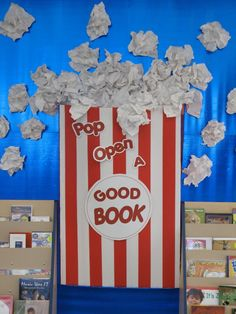 """Pop Open A Good Book"" is fun idea for a reading bulletin board display with a popcorn theme.  Students could design popcorn bags and write about their stories on their bag templates...change it up for Sunday School...pop open The Good Book...."