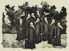 Our Fact of the Day:  Plague Doctors would carry a stick or staff as part of their uniform to fend off any infected person who came to close.