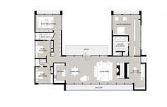 Wonderful Modern Pavilion with Spacious Garden: Fascinating U Shaped House Floor Plan New Canaan Residence ~ SQUAR ESTATE Villa Inspiration