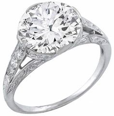 antique 3.73ct diamond engagement ring photo 1  Yes please!