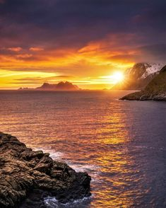 Sunset was seen in Lofoten Islands, Norway Lofoten, Dusk, Norway, Islands, Sunrise, Around The Worlds, Celestial, Outdoor, Beautiful