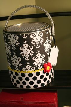 Family tradition of paint can pajamas. Decorate a paint can for each PJs family member and fill with a set of to open on Christmas Eve. Love the idea!