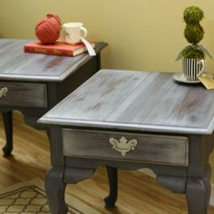 Handpainted Gray French Grain Sack End Tables