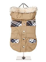 Bremar Tartan Trimmed Parka  - This two toned Parka coat is cosy and stylish and bang on trend. It has a faux fur trimmed hood and is fleece lined to keep your dog snug and warm. It fastens along the underside with four poppers making it easy to both dress and undress your dog. It is finished on top with two matching tartan pocke...