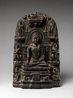 Stele with Eight Great Events from the Life of the Buddha Period: Pala period Date: 10th century Culture: India, Bihar, possibly from Nalanda Medium: Black schist with traces of gilding Dimensions: H. 11 1/16 in. (28.1 cm); W. 7 in. (17.8 cm); D. 3/4 in. (1.9 cm); Wt. 11 lbs (5 kg) Classification: Sculpture Credit Line: Gift of Raymond G. and Marsha Vargas Handley, 2009 Accession Number: 2009.541