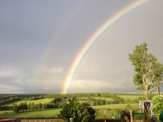 Rainbow at Just-Another Farm in Hunter River, PEI on June 2014 - taken by farm owner Velma Vos. Prince Edward Island, June, Country Roads, Rainbow, River, Places, Rainbows, Rain Bow, Rivers
