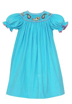 smocked dresses | VF11 Bright Blue Paisley Smocked Bishop by Anavini