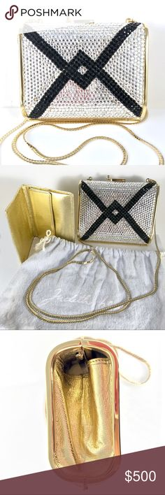 "JUDITH LEIBER Swarovski Crystal Purse Mini Clutch Judith Leiber Silver & Black Swarovski crystal encrusted 1980's evening bag. Lined with metallic gold tone leather on interior & sides. - gold tone 19"" chain strap - matching leather change / credit card / ID holder case.  - Labeled by Judith Leiber - Original dust bag - In very good condition - minimal repair to embellishments, general wear of an item of this age - Measures: 4.5"" W x 3.75"" H x 2.0"" D Judith Leiber Bags Clutches & Wristlets"
