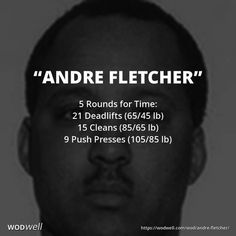 """Andre Fletcher"" WOD - 5 Rounds for Time: 21 Deadlifts (65/45 lb)"