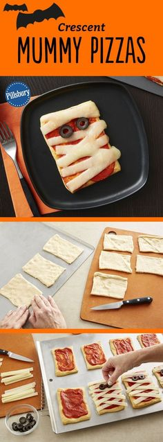 Kids will go crazy for these adorable mummy pizzas Made easy with crescent dough kids will love to help assemble them for dinner or serve them at your next Halloween party Want extra flavor Add chopped Canadian bacon or pepperoni before adding the cheese Halloween Desserts, Halloween Pizza, Hallowen Food, Fete Halloween, Halloween Dinner, Halloween Goodies, Halloween Food For Party, Halloween Kids, Halloween Treats