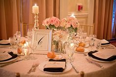 Love all the details for this reception!so fancy and elegant! Wedding Color Schemes, Wedding Colors, Wedding Styles, Wedding Flowers, Groomsmen Boutonniere, Candleholders, Reception Table, Table Numbers, Celebrity Weddings