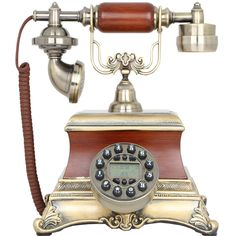 New Brown Antique Push Button Corded Phone Retro Vintage Home & Desk Telephone