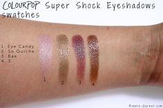 ColourPop Super Shock Eyeshadows So Quiche, Bae, Eye Candy swatches Colourpop Eyeshadow, Colourpop Cosmetics, Eyeshadows, Dupes, Mac Satin Taupe, Colourpop Super Shock, Pretty Girl Rock, Indie Makeup, Rose Gold Makeup