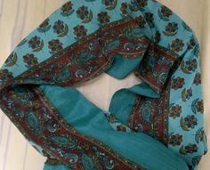Scarf Indian Silk Sari Scarf Green with Flowers Long Scarf