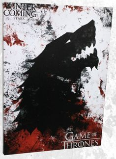 Game of Thrones Stark Mounted Banner - Calhoun Sportswear - Game of Thrones - Flags at Entertainment Earth Game Of Thrones Flags, Game Of Thrones Canvas, Game Of Thrones Winter, Game Of Thrones Art, Dire Wolf, Games To Buy, Winter Is Coming, Canvas Wall Art